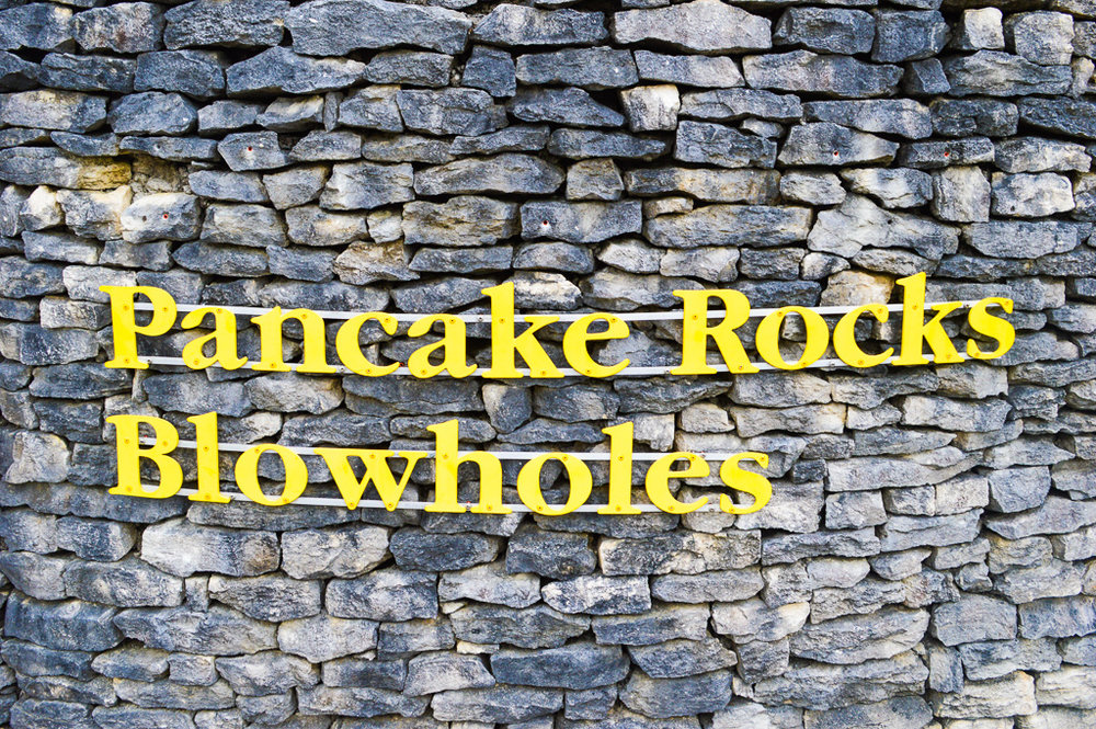 pancake rock blowholes sign