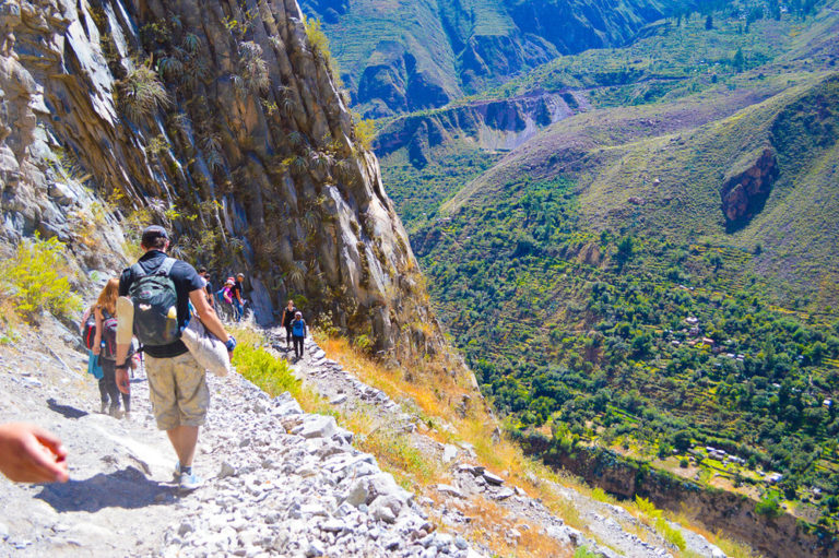 steep gravely path down the colca canyon in peru