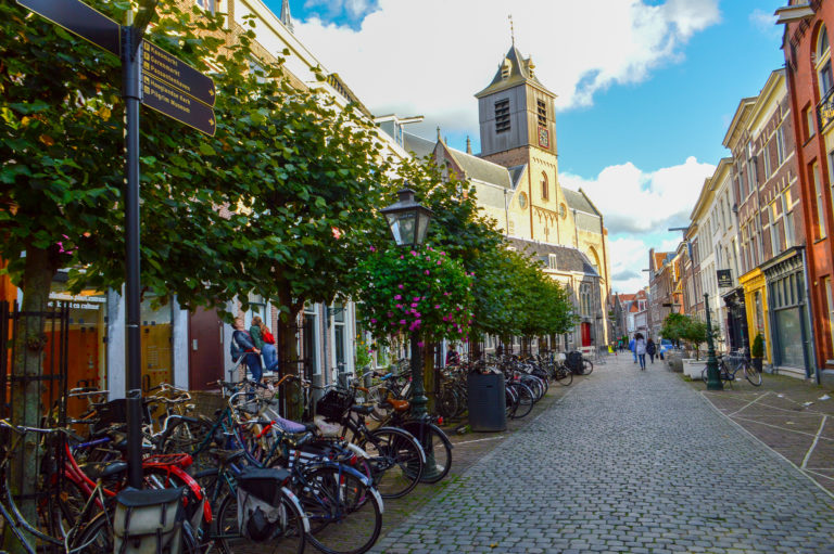 street scene of leiden with cobbled pavement and flowers