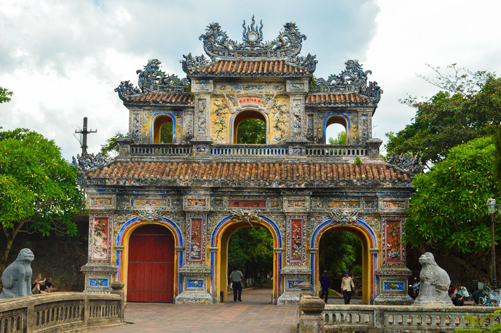 ornate entrance archway of hue vietnam