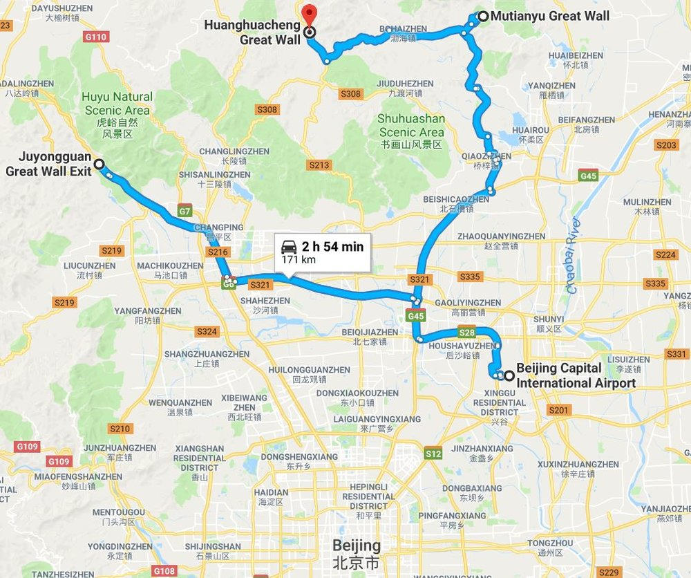 great wall of china google map