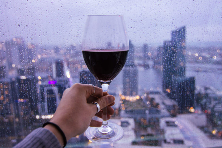 wine and city views