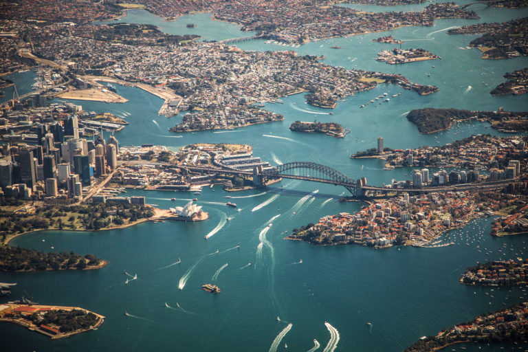 Ariel perspective of Sydney from helicopter