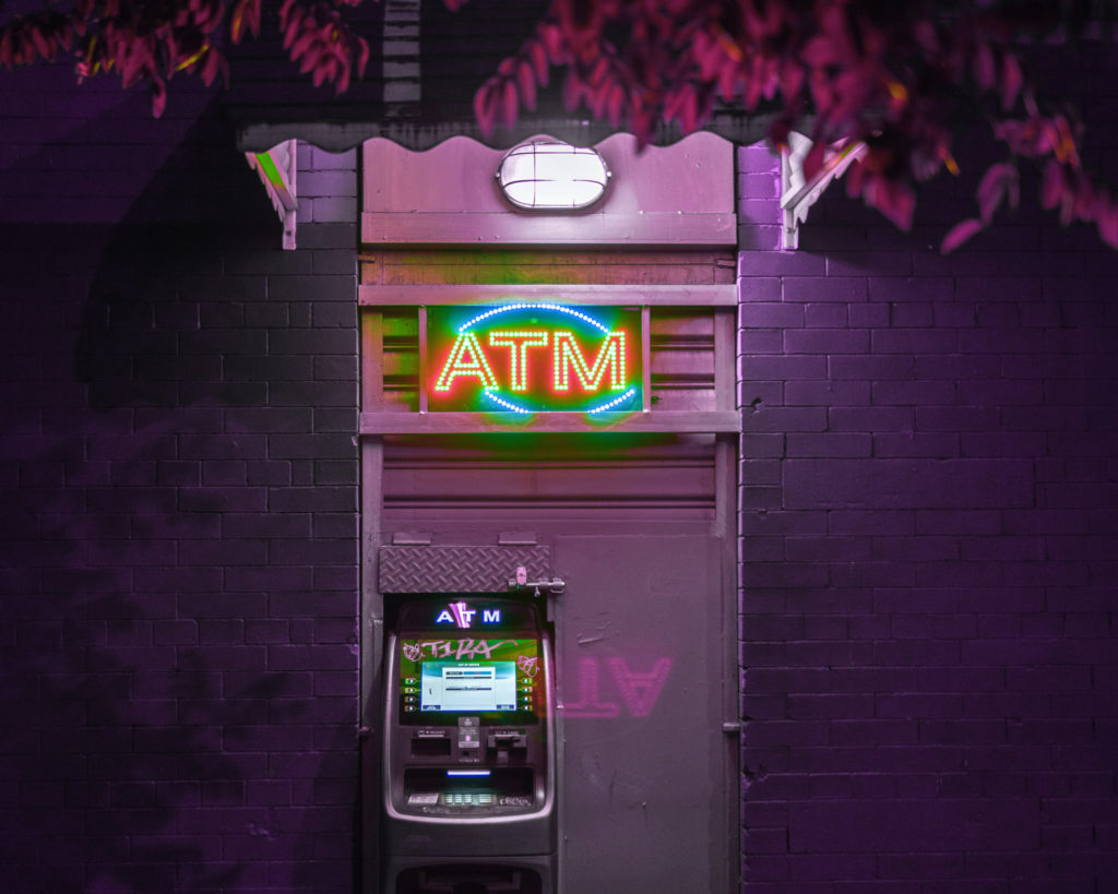 ATM in purple light