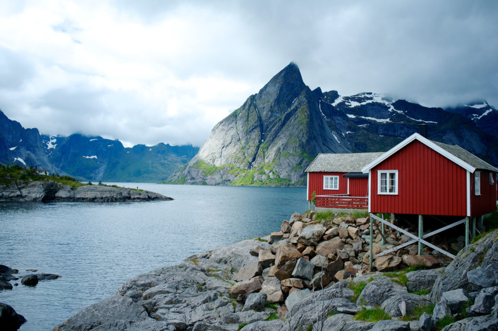 nordic house on a lake with rugged mountains