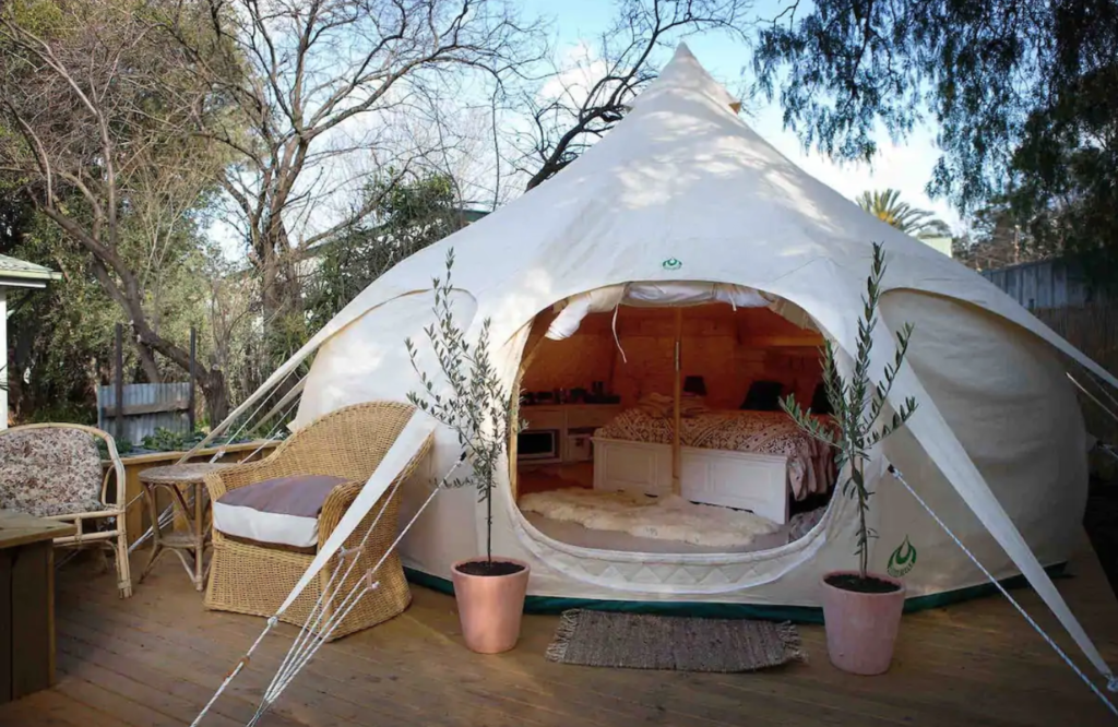 pretty white belle tent accommodation