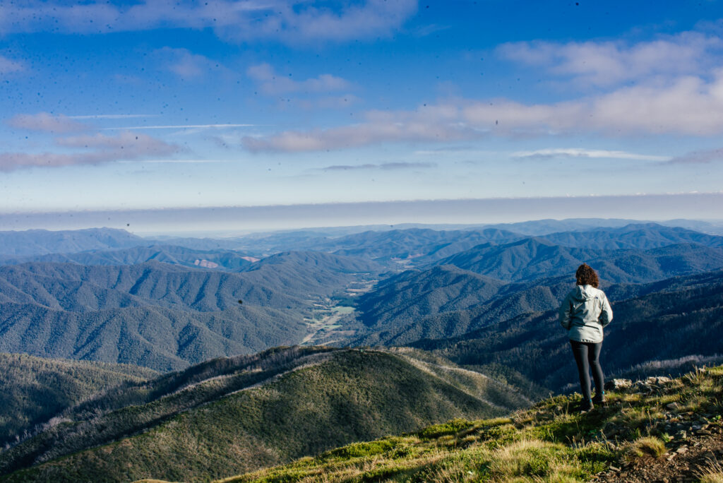 view from the top of Mount Feathertop in Victoria