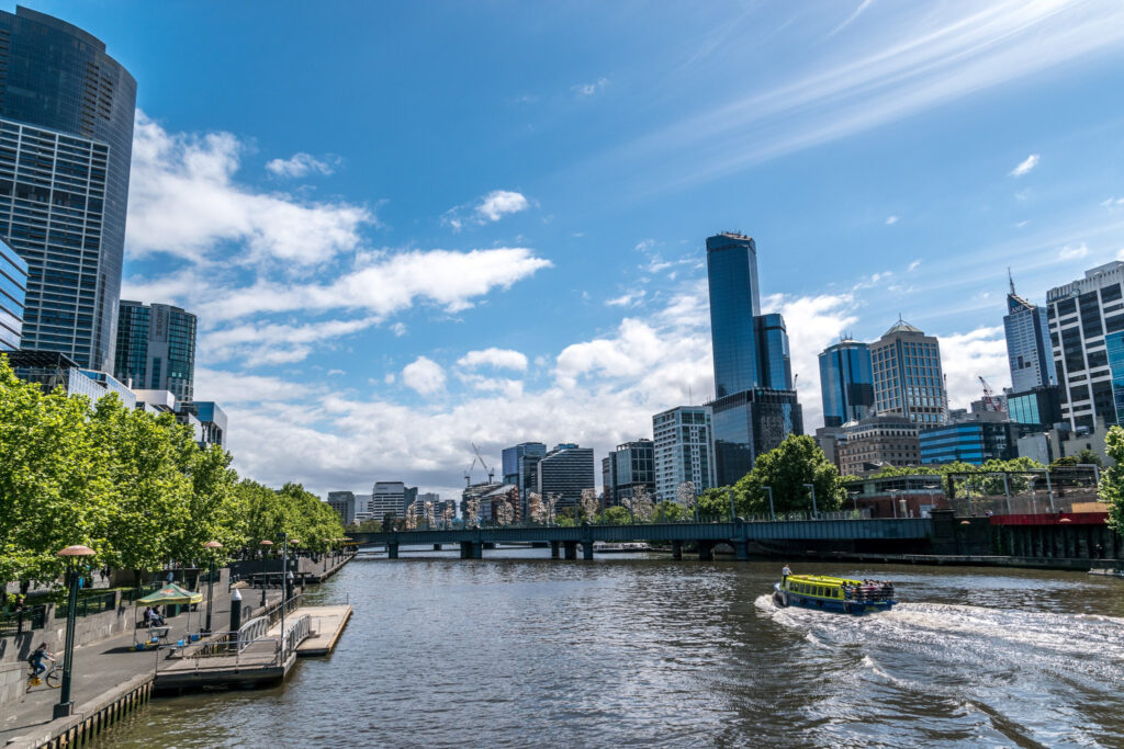 Melbourne Southbank with boat on the Yarra River