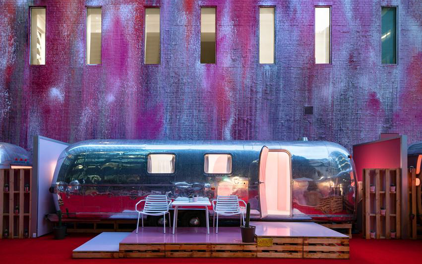silver airstream trailer on Melbourne rooftop