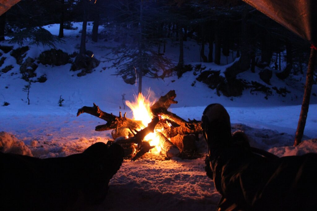 camp fire in the snow