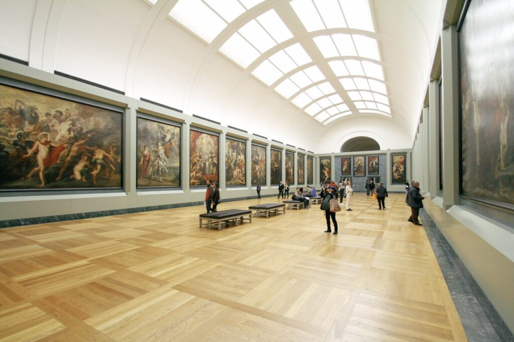 large art gallery with people at the back