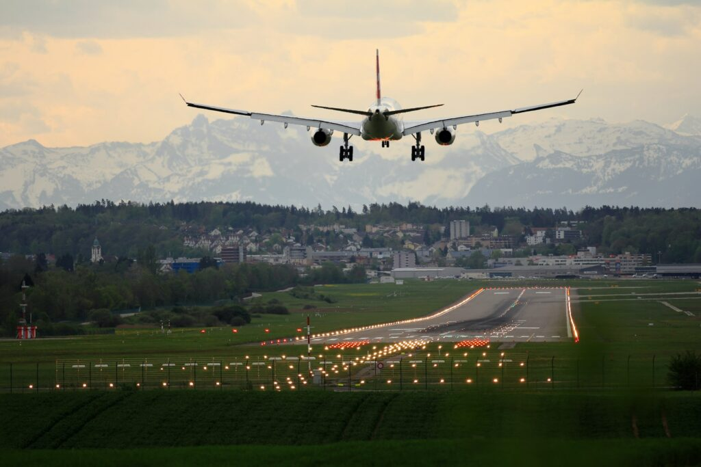 plane coming to land in Switzerland