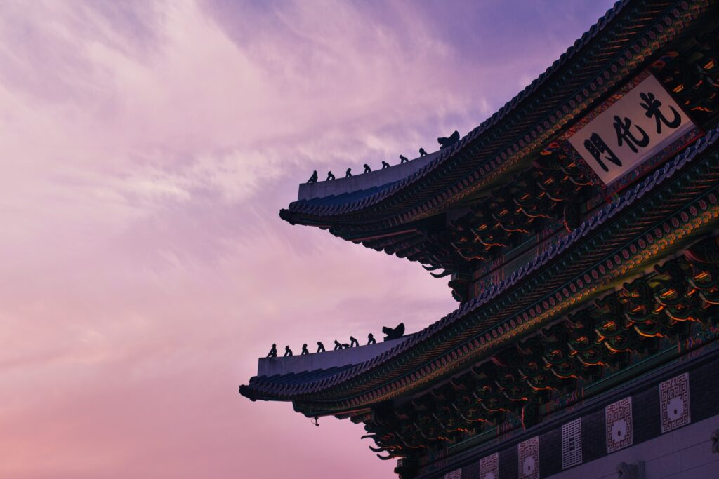 temple in korea with pink dusky cky