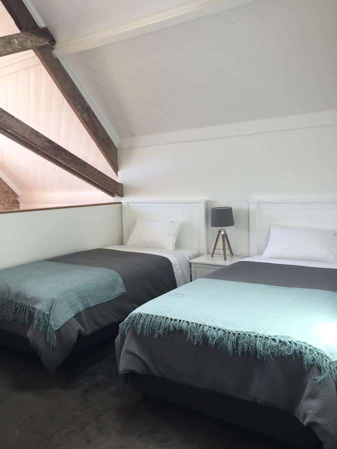bedroom of converted church accommodation