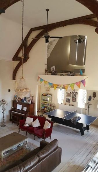 converted church accommodation living room