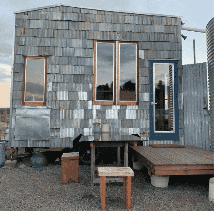 unique tiny house accomodation with metal cladding
