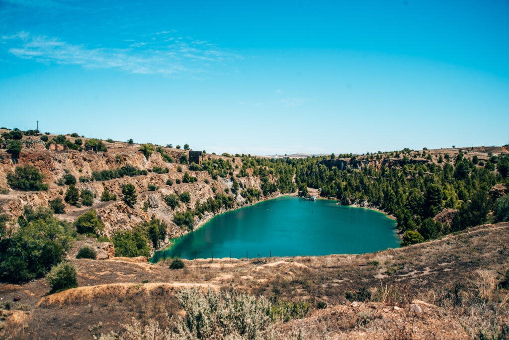 Turquoise water in old copper mine