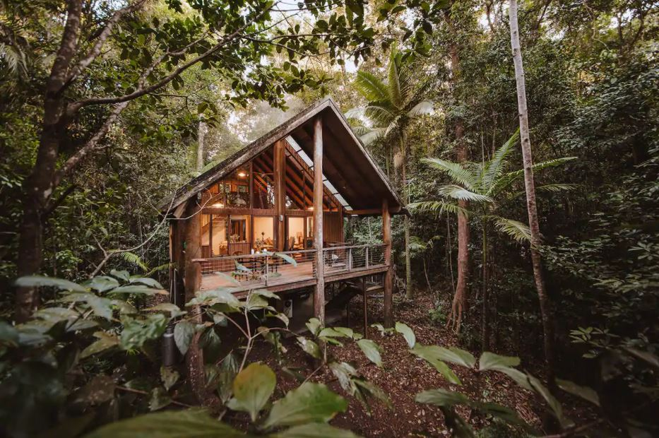 treehouse hut in rainforest for rent