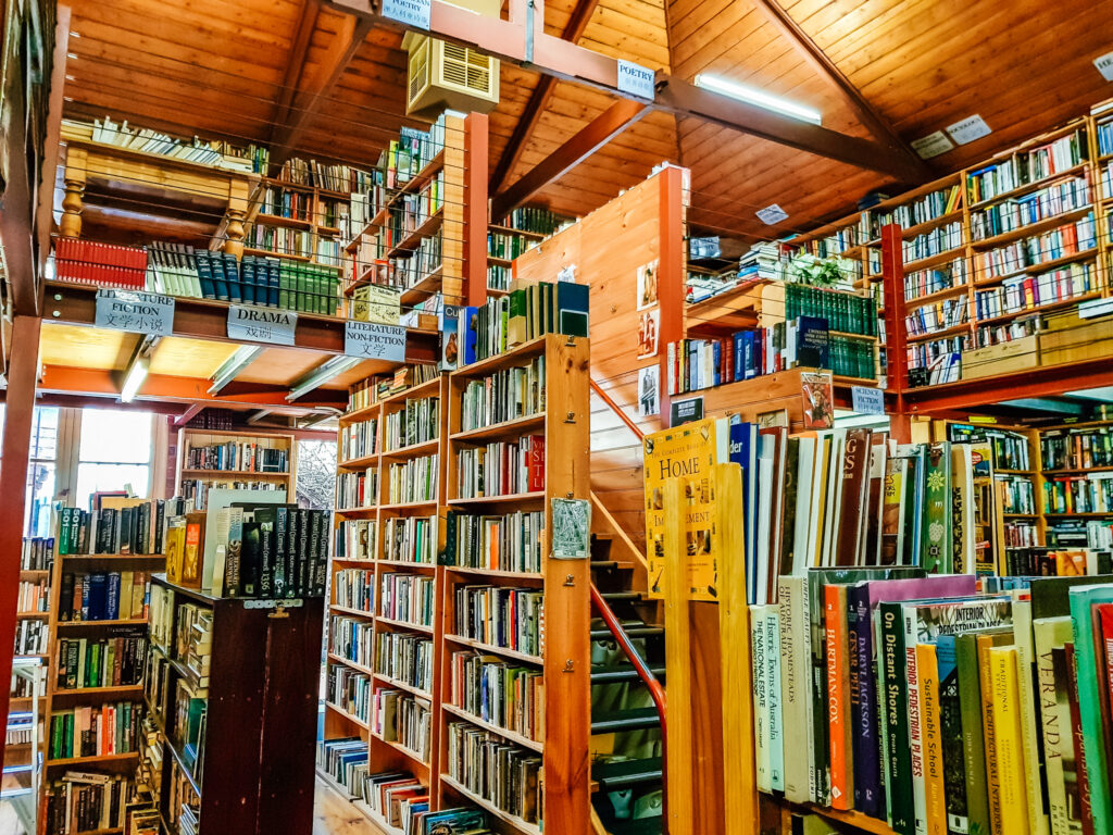 old antique book store with shelves of second hand books