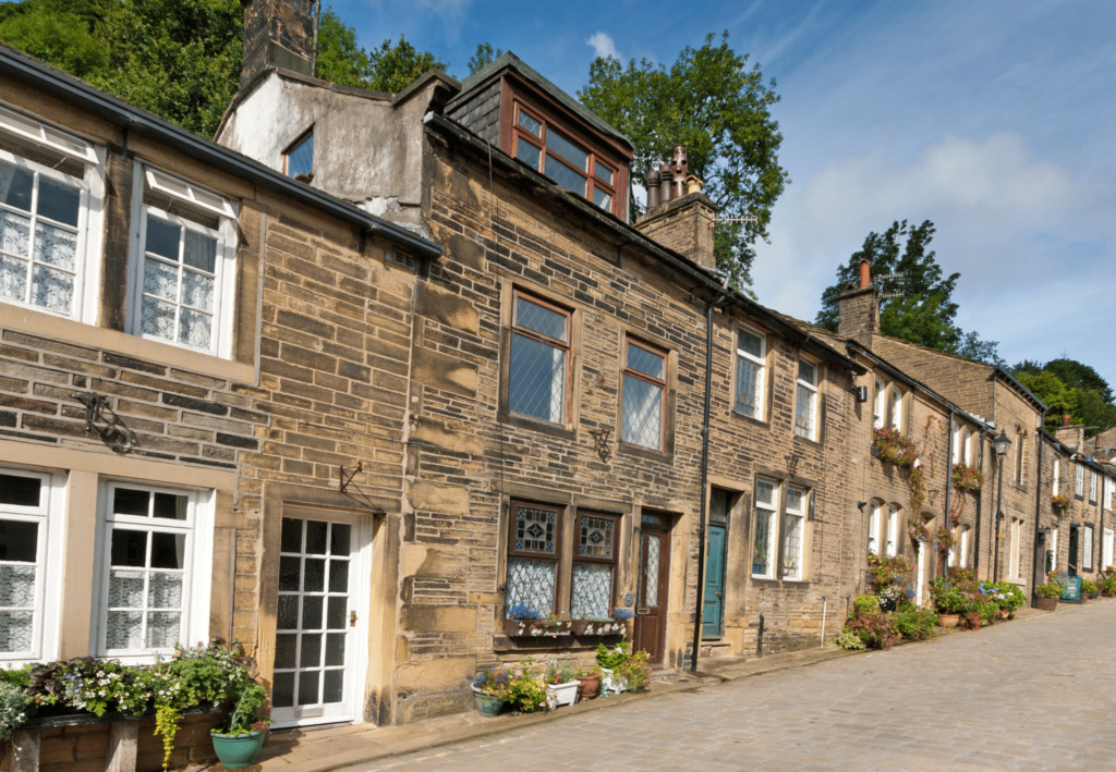 row of stone houses in Haworth village