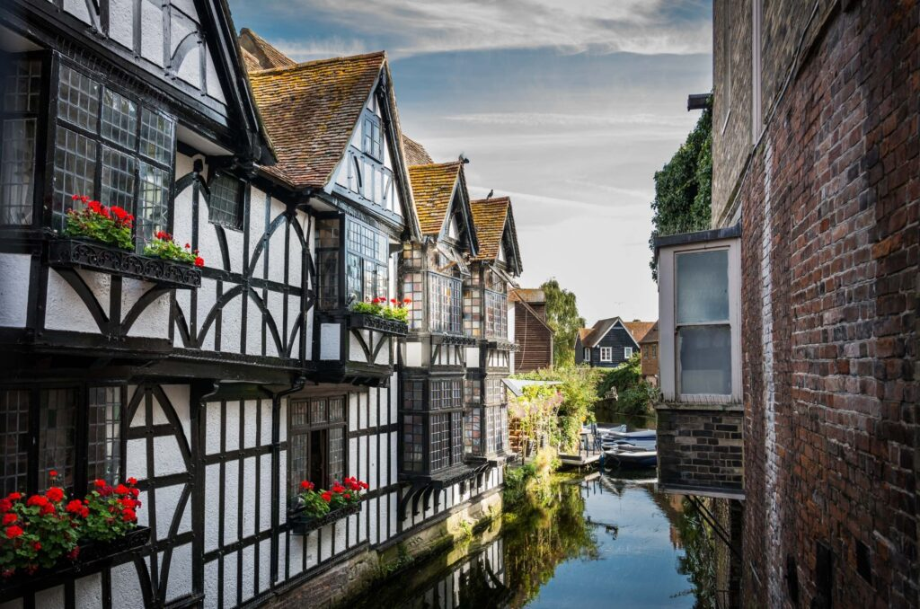 medieval houses on a river in canterbury england